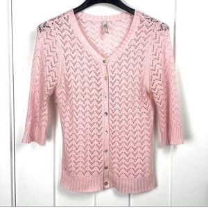4/$25 Fossil XL pink open knit button cardigan